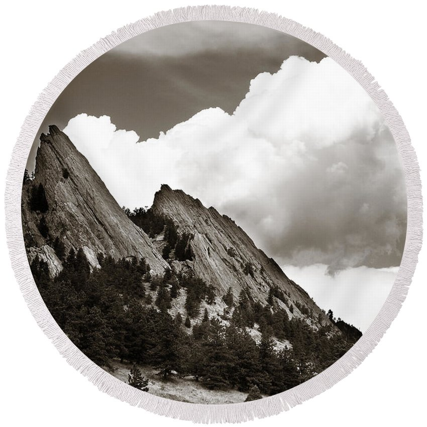 Flatirons Round Beach Towel featuring the photograph Large Cloud Over Flatirons by Marilyn Hunt