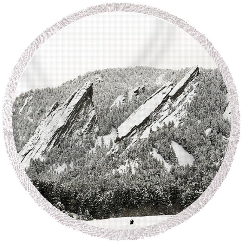 Boulder Round Beach Towel featuring the photograph Boulder Flatirons Colorado 1 by Marilyn Hunt