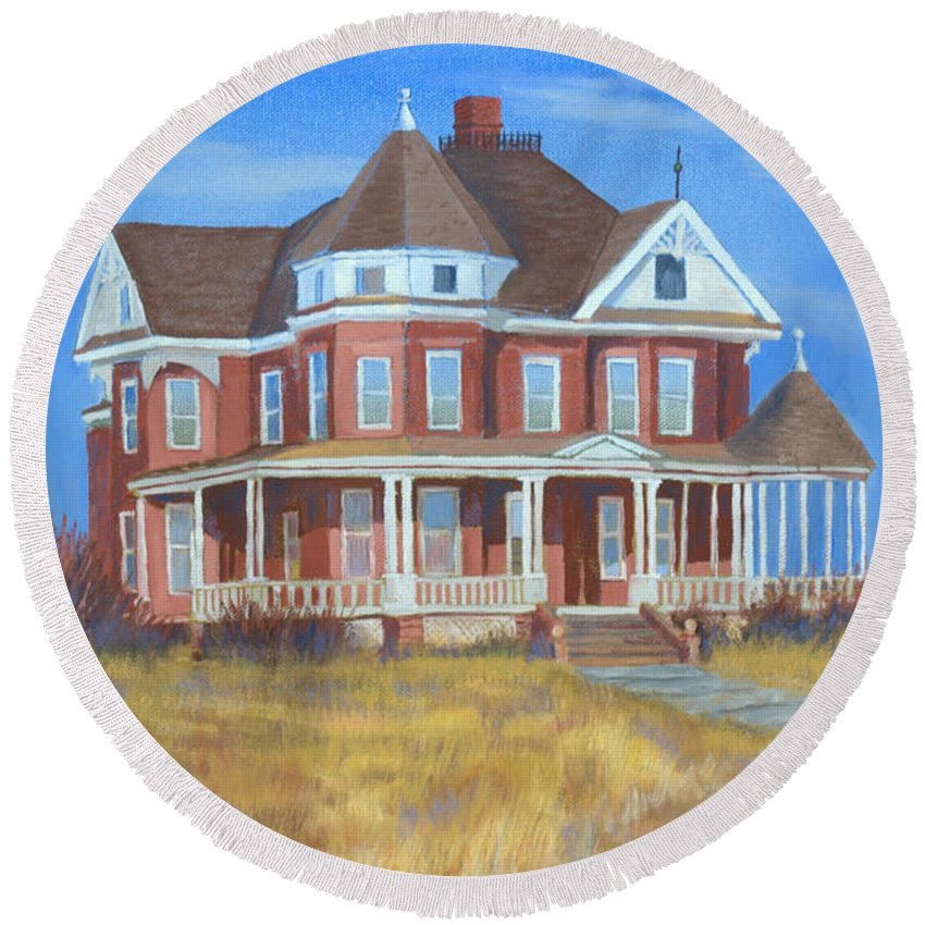 Boulder Round Beach Towel featuring the painting Boulder Victorian by Jerry McElroy