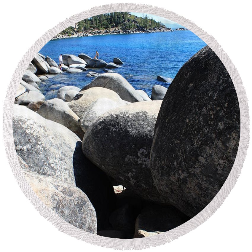 Boulders Round Beach Towel featuring the photograph Boulders On Lake Tahoe by Carol Groenen