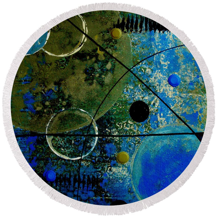 Abstract Round Beach Towel featuring the painting Bouncer by Ruth Palmer