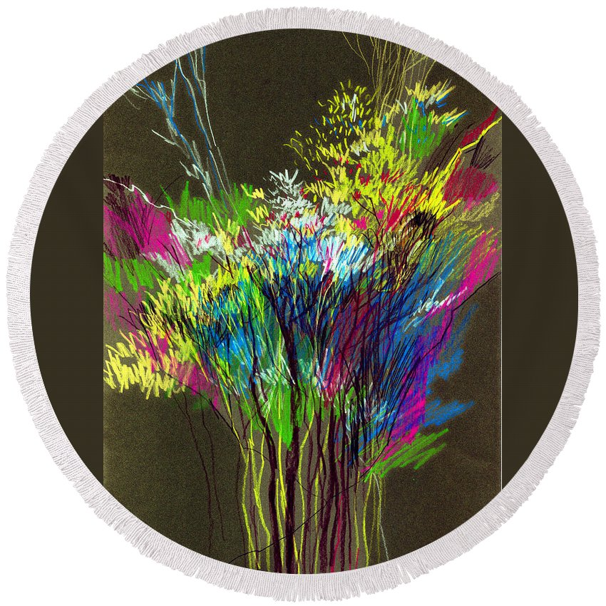 Flowers Round Beach Towel featuring the painting Bouquet by Anil Nene