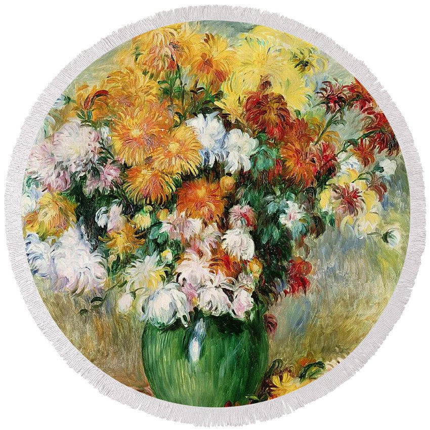 Bouquet Round Beach Towel featuring the painting Bouquet Of Chrysanthemums by Pierre Auguste Renoir