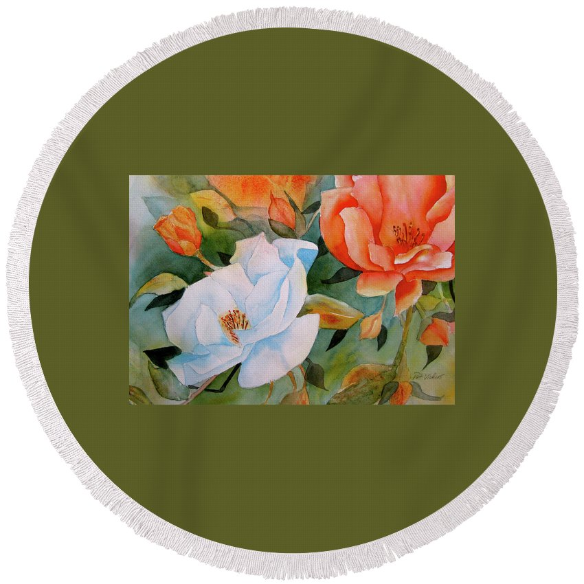 Flower Round Beach Towel featuring the painting Bouquet by Pat Vickers