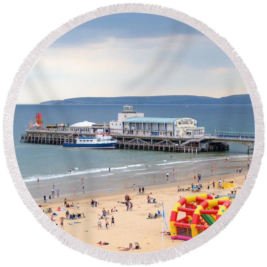 Bournemouth Round Beach Towel featuring the photograph Bournemouth Pier And Beach by Chris Day