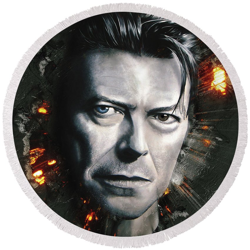 David Bowie Round Beach Towel featuring the digital art Bowie by Shaun Poole
