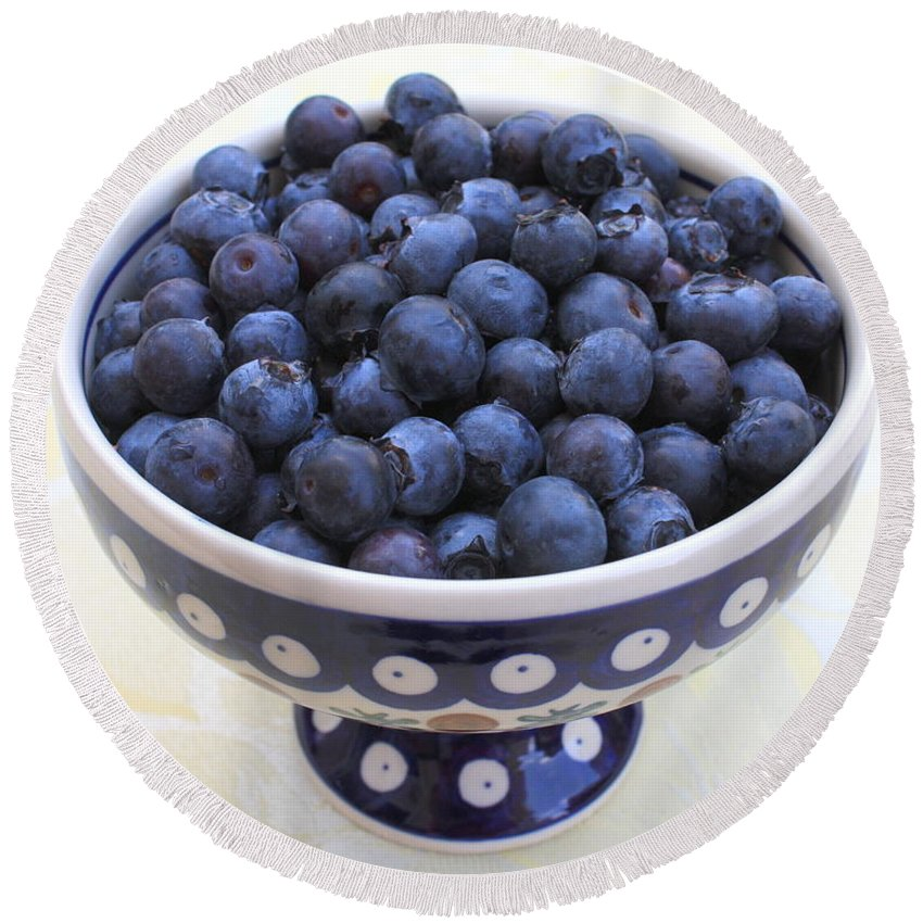 Blueberries Round Beach Towel featuring the photograph Bowl Of Blueberries by Carol Groenen