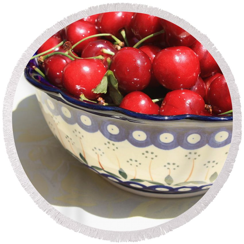 Cherries Round Beach Towel featuring the photograph Bowl Of Cherries With Shadow by Carol Groenen
