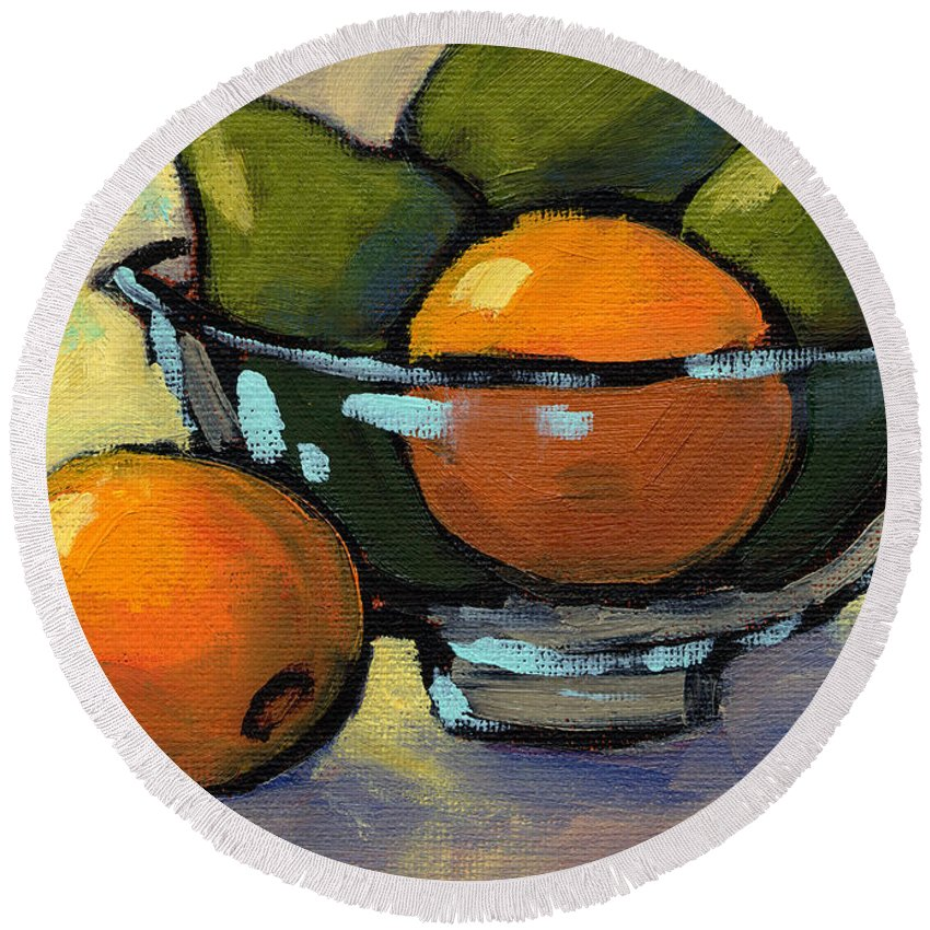Bowl Of Fruit Round Beach Towel featuring the painting Bowl Of Fruit 4 by Konnie Kim