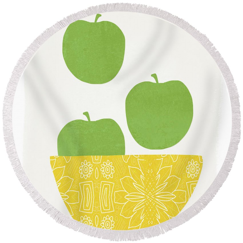 Apples Round Beach Towel featuring the painting Bowl Of Green Apples- Art By Linda Woods by Linda Woods