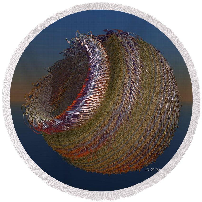 Fractal Round Beach Towel featuring the digital art Bowl Of Metal by Deborah Benoit