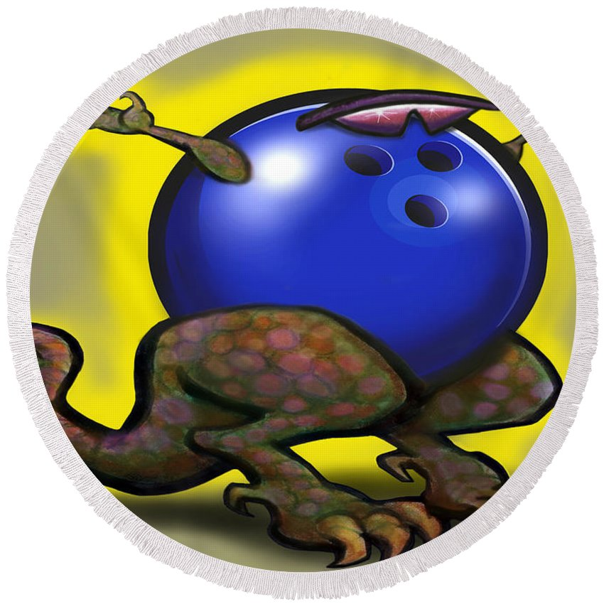 Bowl Round Beach Towel featuring the digital art Bowling Beast by Kevin Middleton