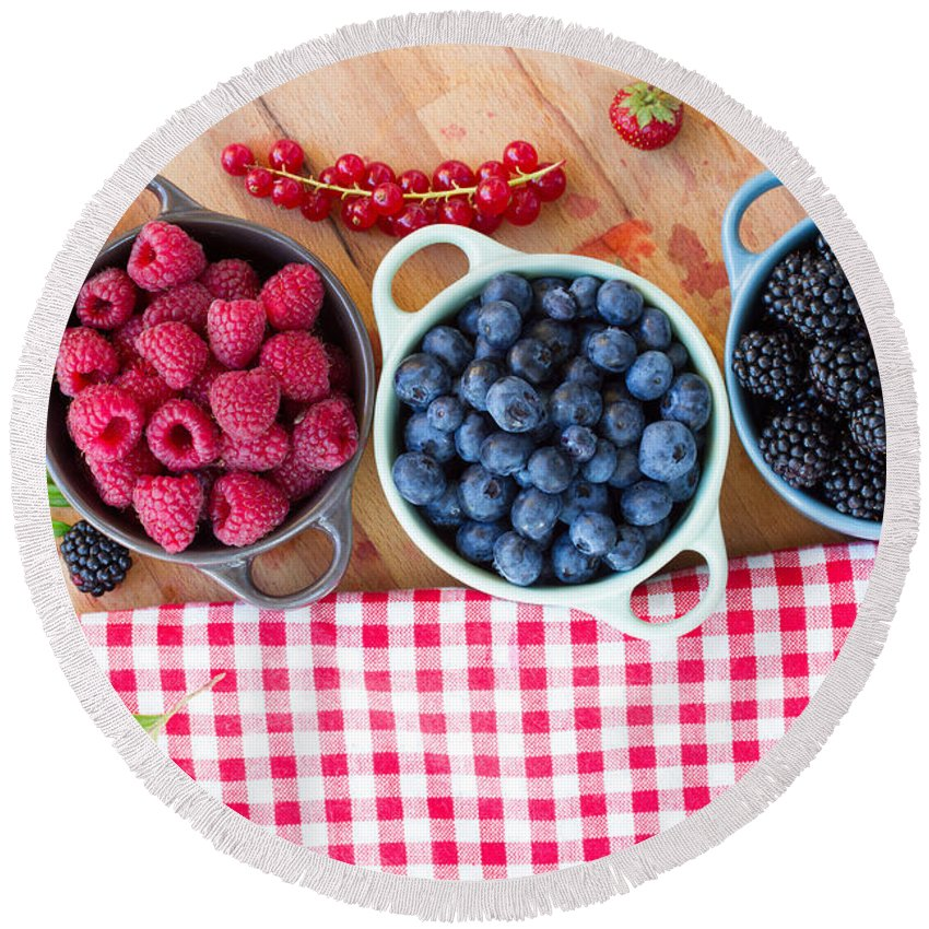 Berries Round Beach Towel featuring the photograph Bowls Of Beriies by Anastasy Yarmolovich