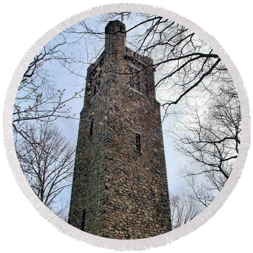 Crossing Round Beach Towel featuring the photograph Bowman's Hill Tower by DJ Florek