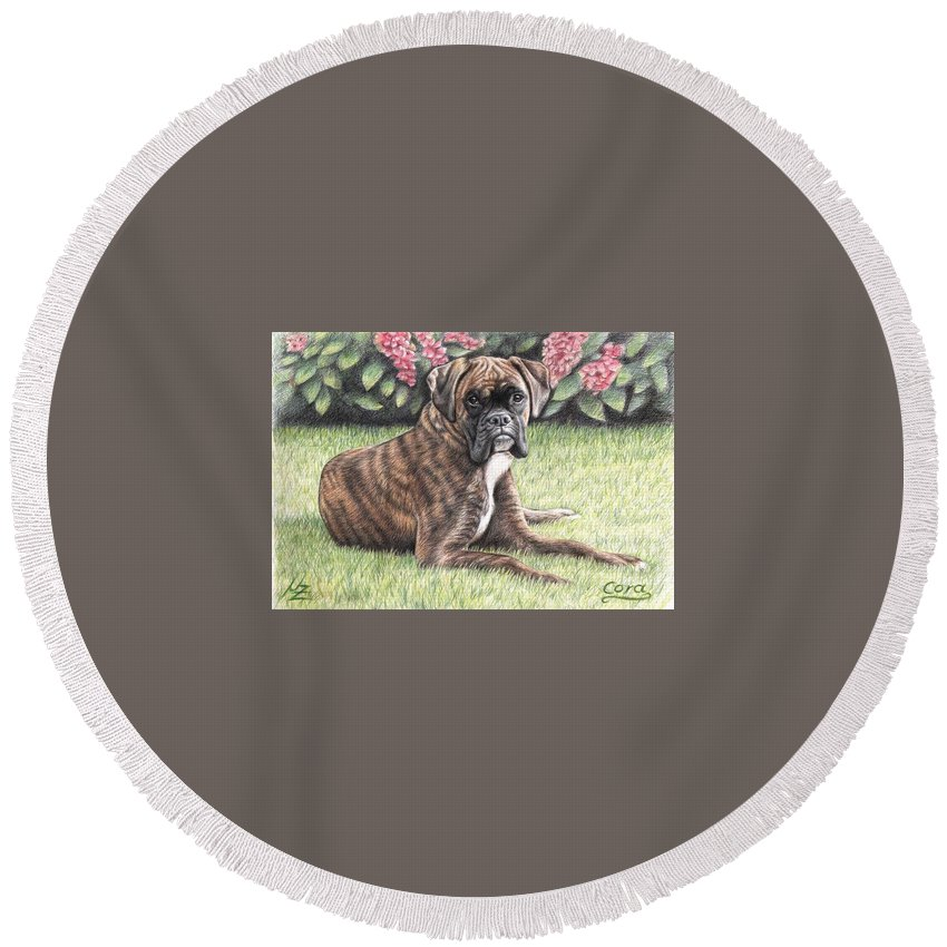 Dog Round Beach Towel featuring the drawing Boxer Girl by Nicole Zeug