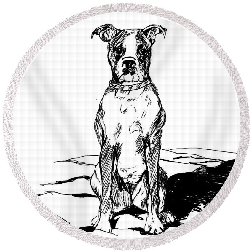 Dog Round Beach Towel featuring the photograph Boxer In The Dirt by Charme Curtin