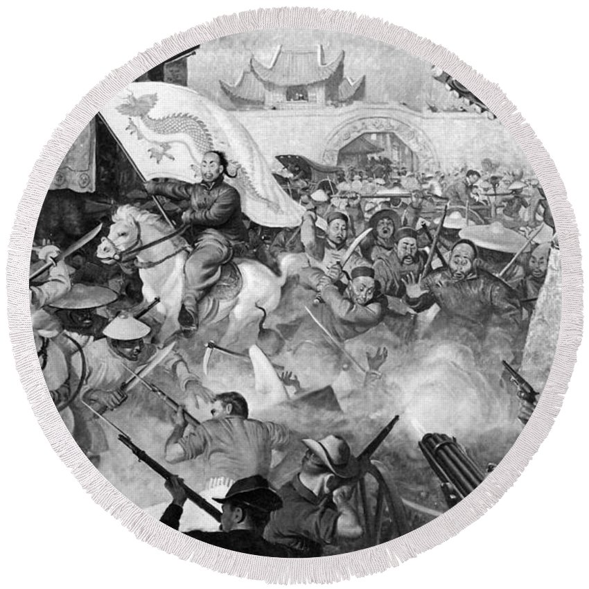 1900 Round Beach Towel featuring the painting Boxer Rebellion by Granger