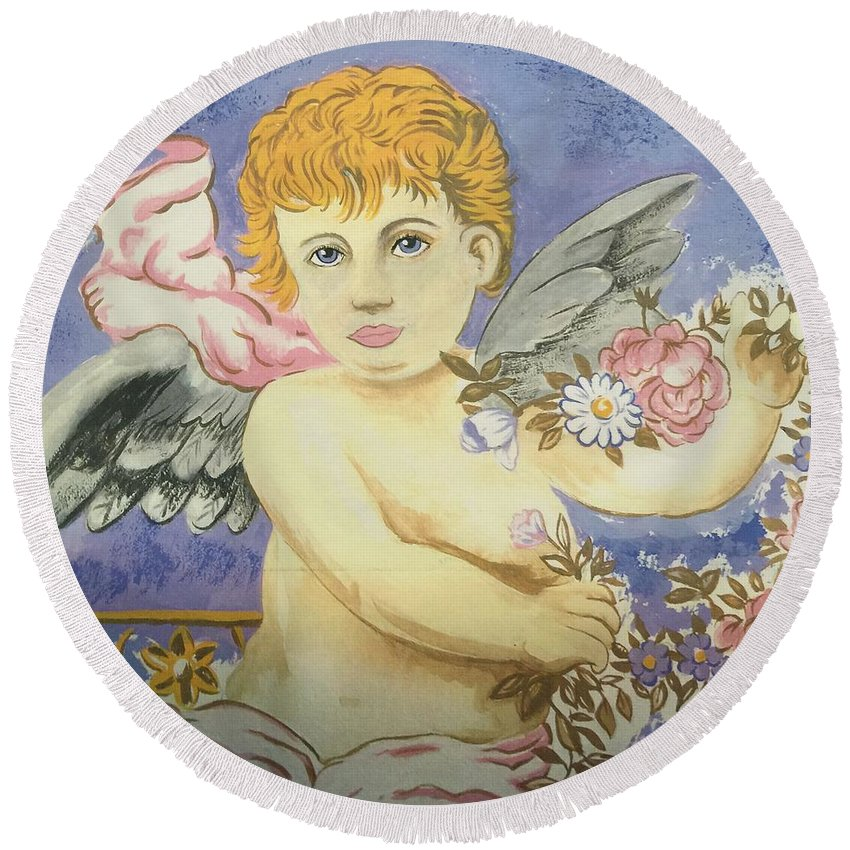 Round Beach Towel featuring the painting Cherub by Bruce Cohose