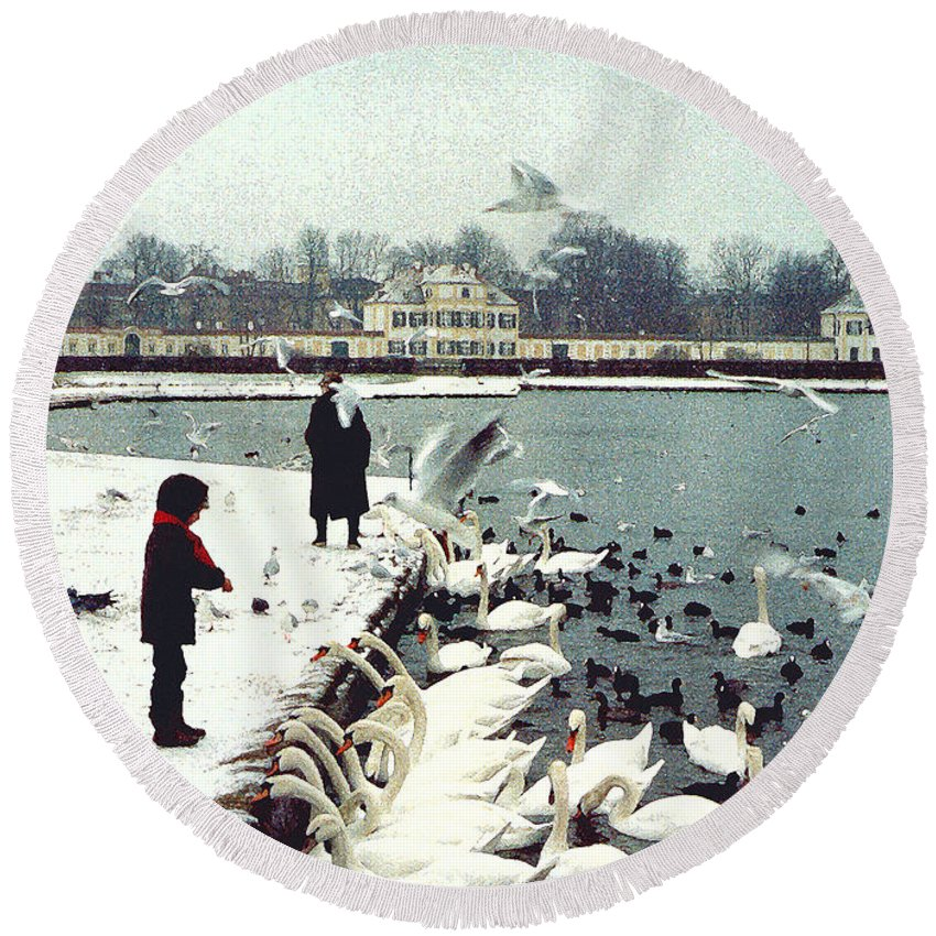 Swans Round Beach Towel featuring the photograph Boy Feeding Swans- Germany by Nancy Mueller