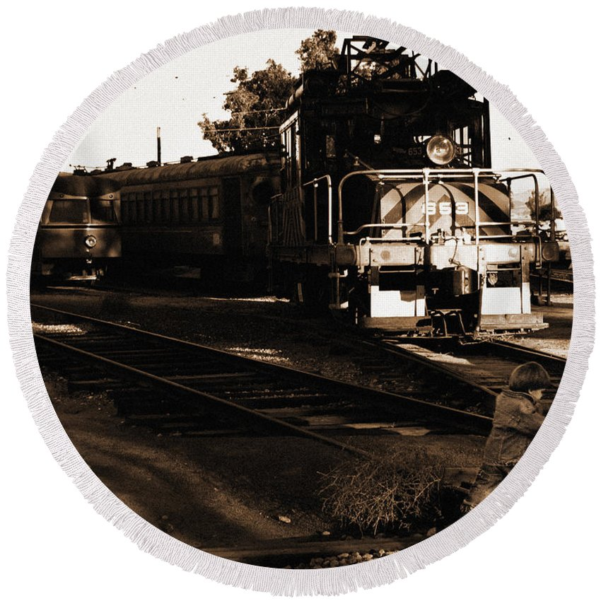 Train Round Beach Towel featuring the photograph Boy On The Tracks by Anthony Jones