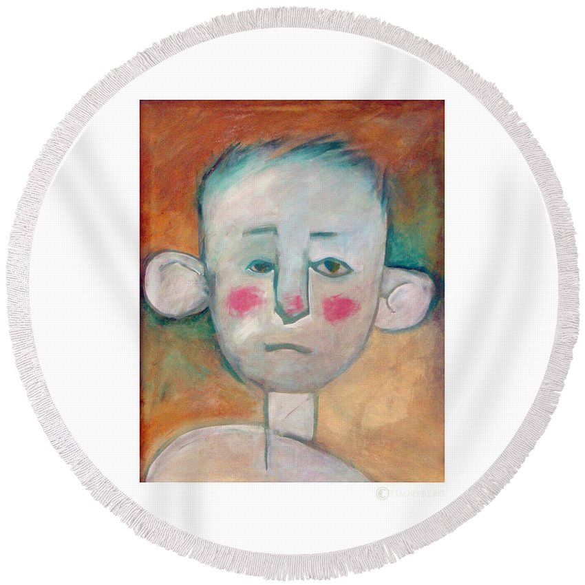 Boy Round Beach Towel featuring the painting Boy by Tim Nyberg