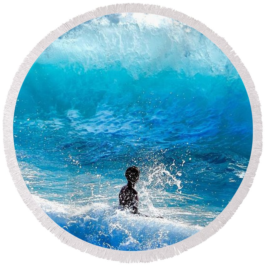 Boy Round Beach Towel featuring the photograph Boy And Wave  Kekaha Beach by Debra Banks