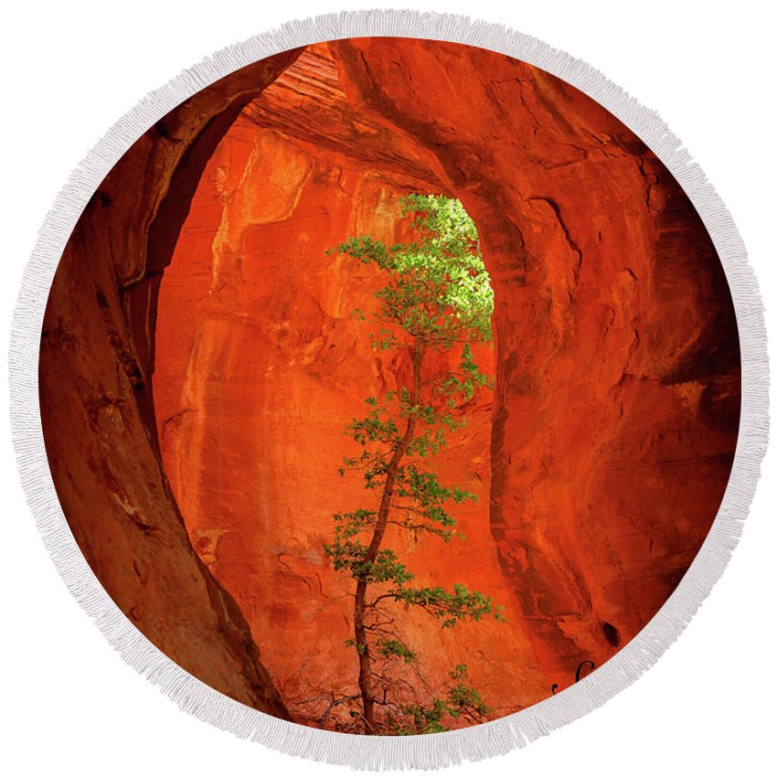 Sedona Round Beach Towel featuring the photograph Boynton Canyon 04-343 by Scott McAllister