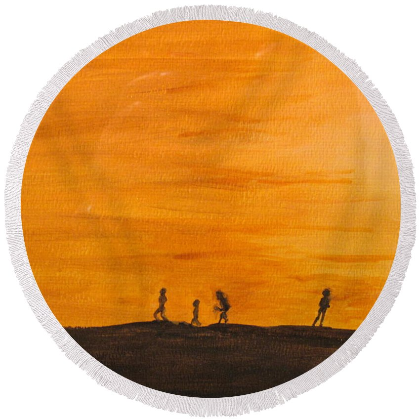 Boys Round Beach Towel featuring the painting Boys At Sunset by Ian MacDonald