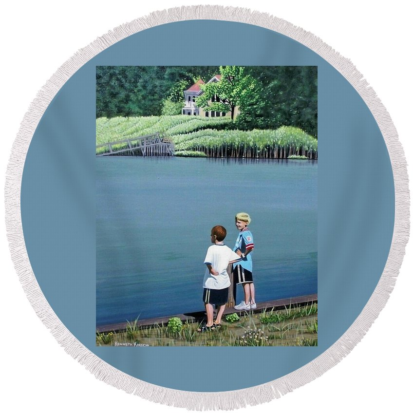 Landscape Round Beach Towel featuring the painting Boys Of Summer by Kenneth M Kirsch