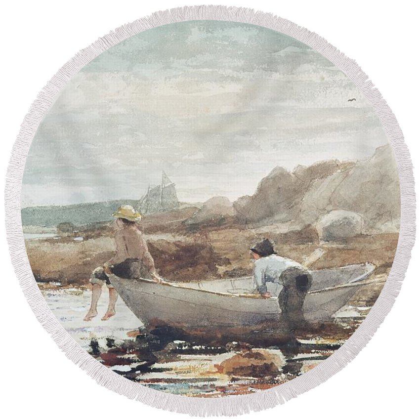 Boys On The Beach (w/c On Paper) By Winslow Homer (1836-1910) Rowing Boat; Fishing; Boy; Male; Children; Child; Playing; Summer; Coast; Coastal; Rocks; Rocky; Boat Round Beach Towel featuring the painting Boys On The Beach by Winslow Homer