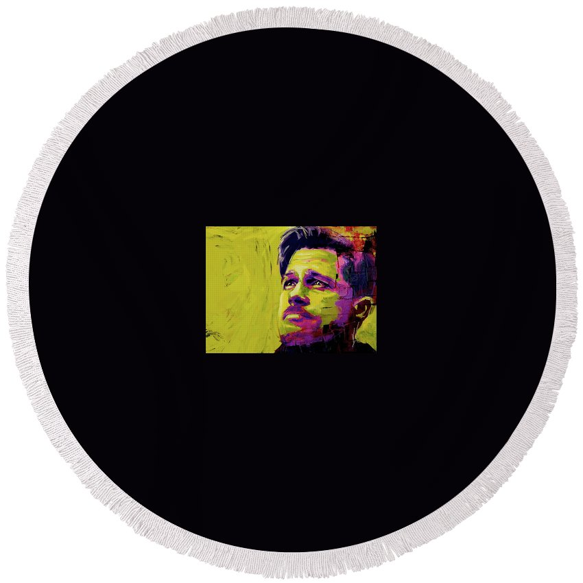Round Beach Towel featuring the painting Brad Pitt Fury by Juan Pereira