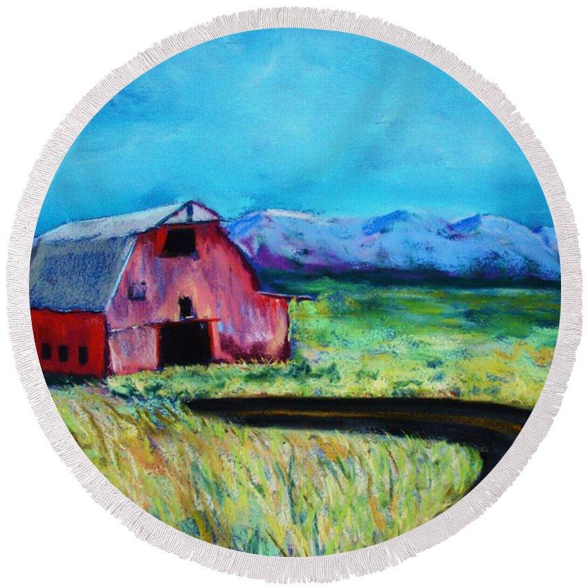 Barn Round Beach Towel featuring the pastel Bradley's Barn by Melinda Etzold