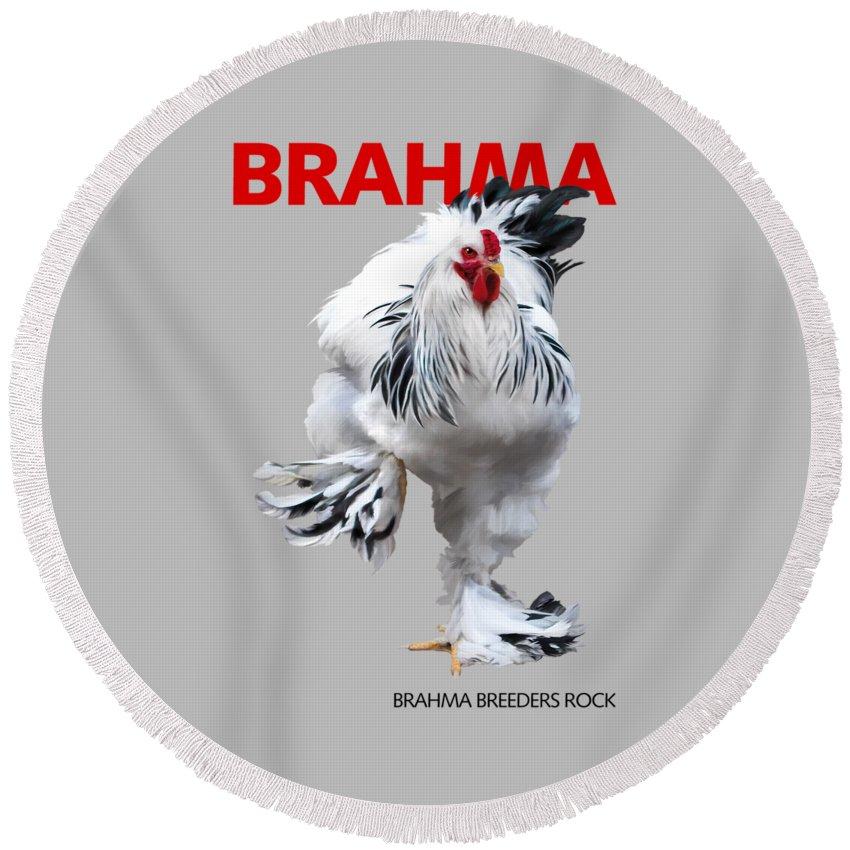 Brahma Round Beach Towel featuring the digital art Brahma Breeders Rock Red by Sigrid Van Dort