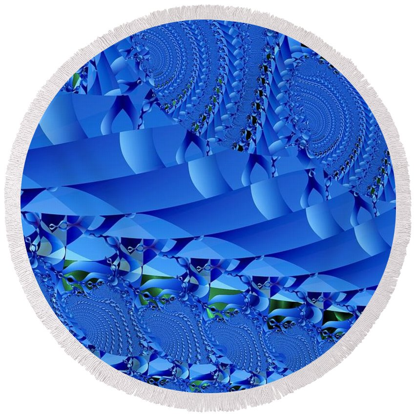 Fractal Image Round Beach Towel featuring the digital art Braided Ribbon Wall by Ron Bissett