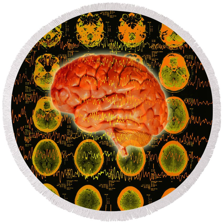 Brain Round Beach Towel featuring the photograph Brain Composite by George Mattei