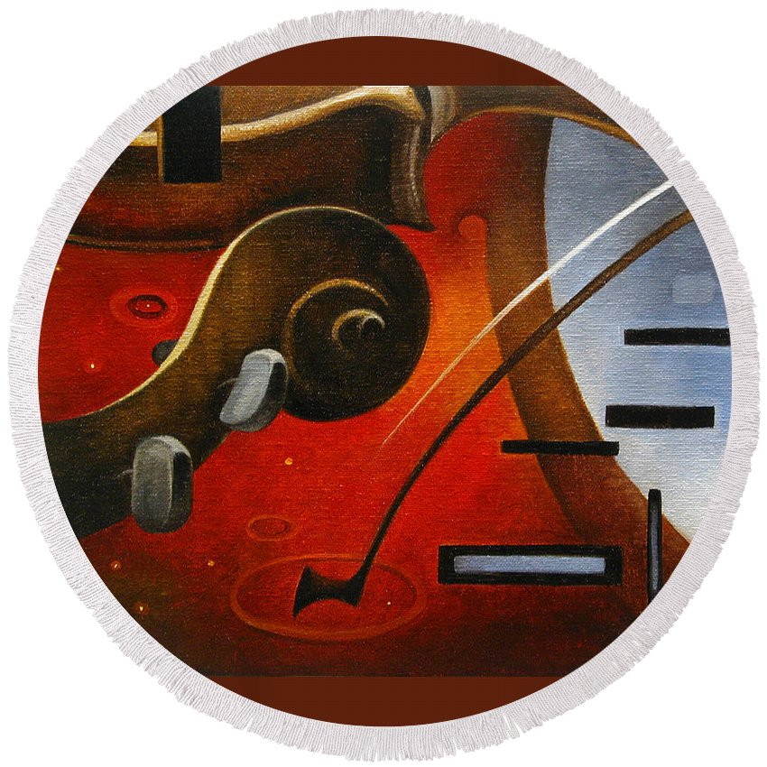 Abstract Violin Fiddle Classical Classical Music Piano Fine Art Abstract Art Contemporary Round Beach Towel featuring the painting Brambach And Pfretzner No 4 by T S Carson