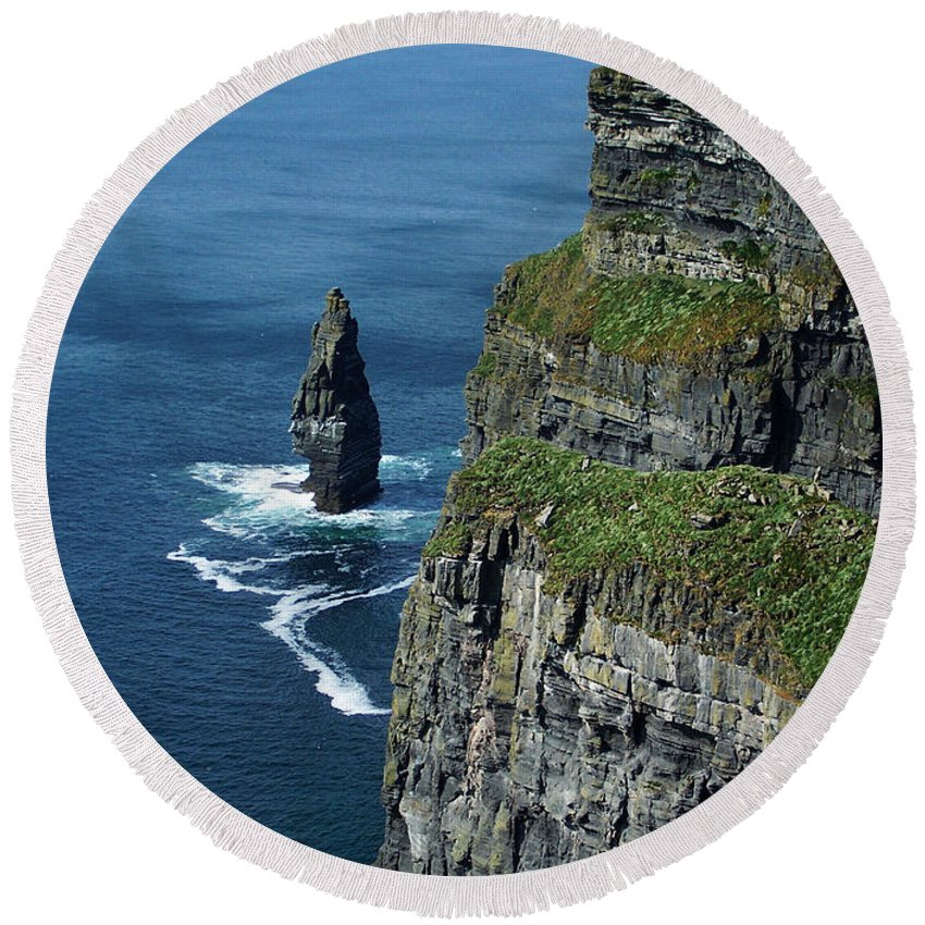 Irish Round Beach Towel featuring the photograph Brananmore Cliffs Of Moher Ireland by Teresa Mucha