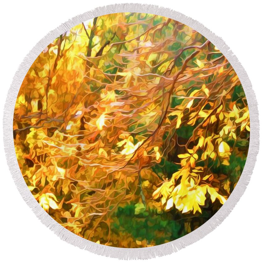 Sunlight Round Beach Towel featuring the painting Branch Of Autumn Leaves by Jeelan Clark
