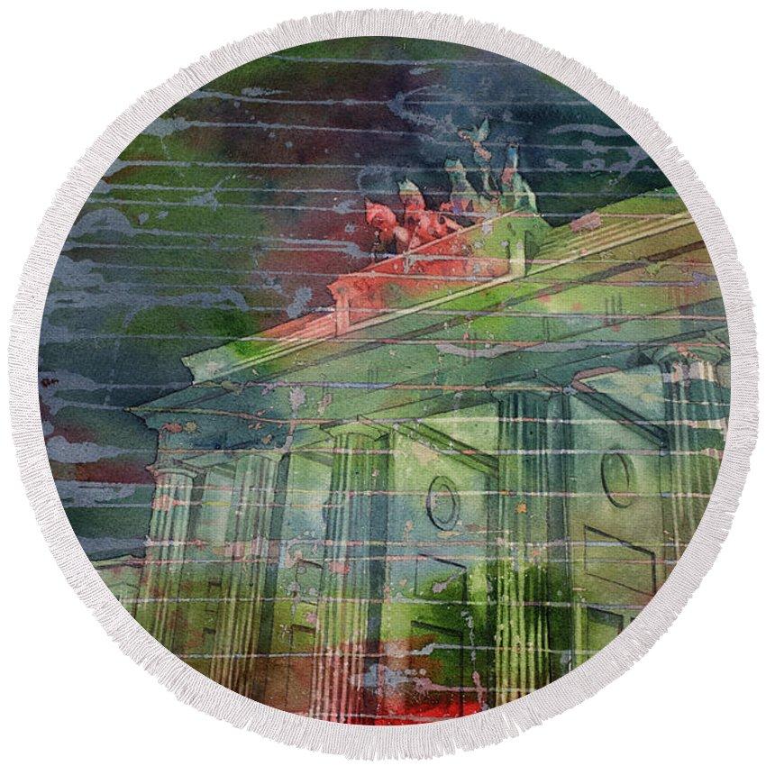 Berlin Round Beach Towel featuring the painting Brandenburg Brilliance by Ryan Fox