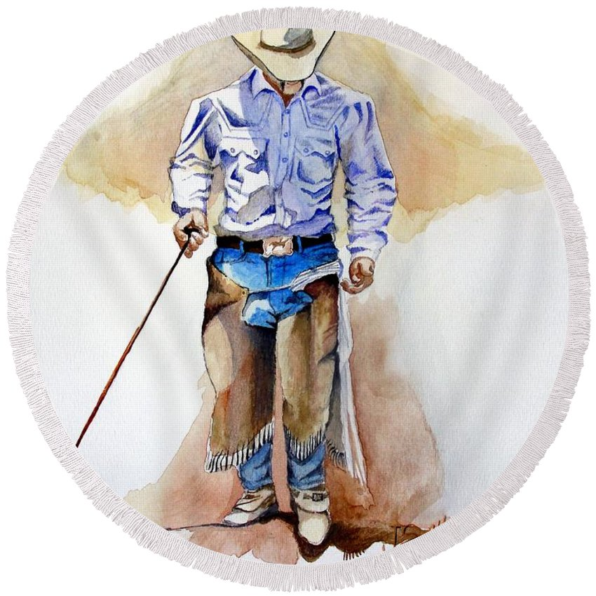 Western Round Beach Towel featuring the painting Branding Blisters by Jimmy Smith