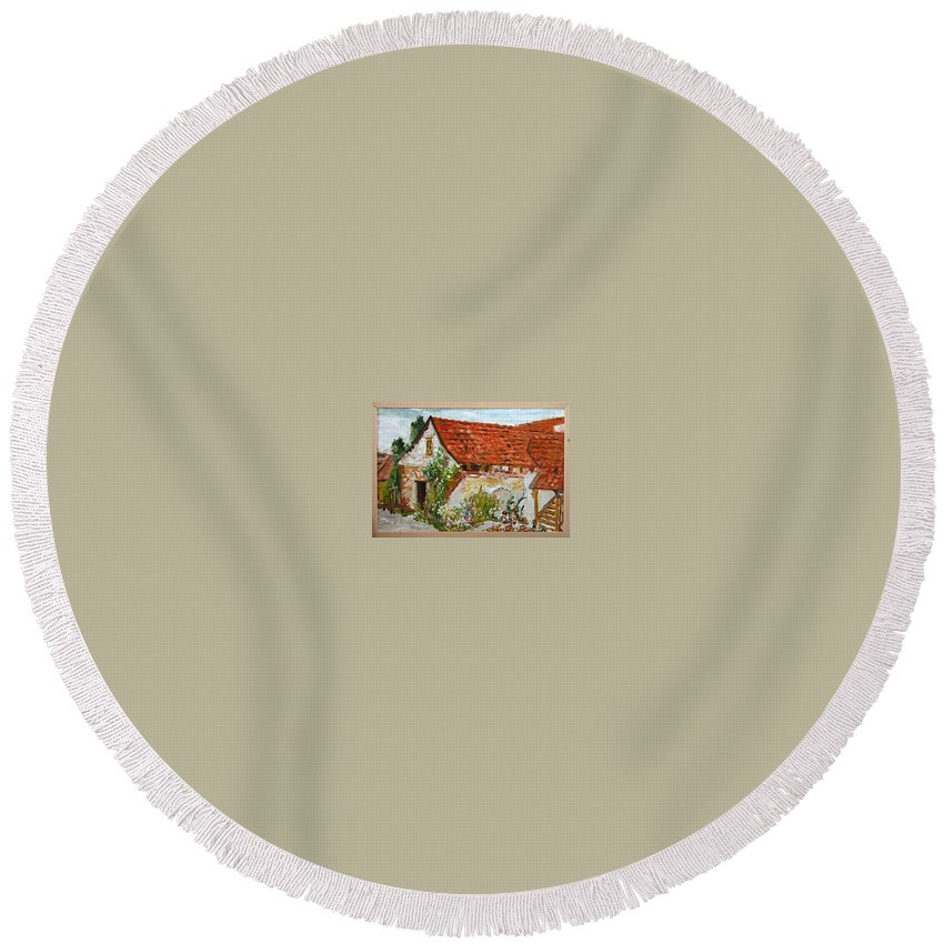 Landscape Round Beach Towel featuring the painting Bratri Truhlari by Pablo de Choros
