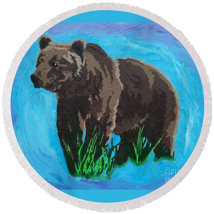 Grizzly Bear Round Beach Towel featuring the painting Brave by Amy Pugh