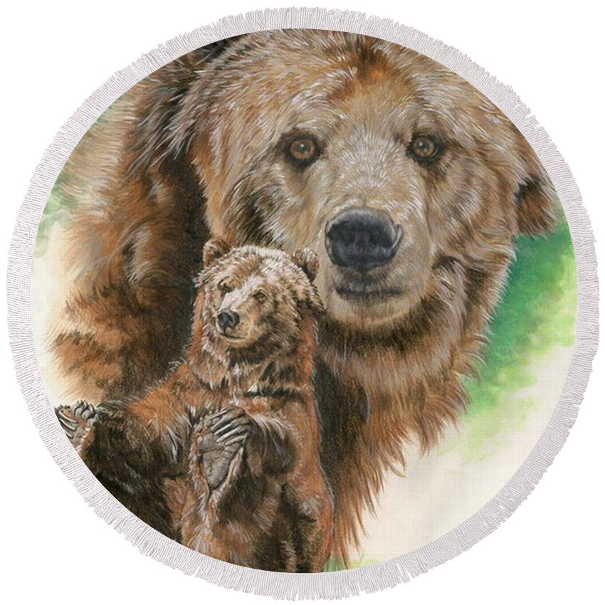 Bear Round Beach Towel featuring the mixed media Brawny by Barbara Keith