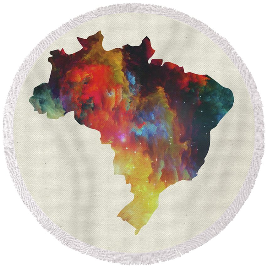 Brazil Round Beach Towel featuring the mixed media Brazil Watercolor Map by Design Turnpike