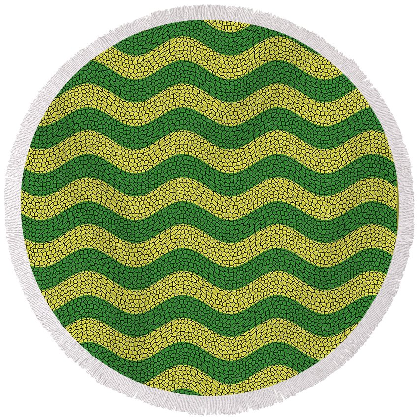 Background Round Beach Towel featuring the digital art Brazilian Paving Pattern In Brazilian Colours. by Richard Wareham