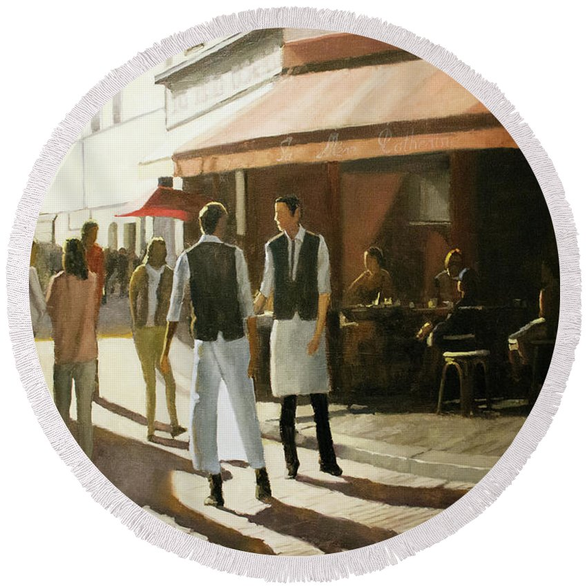 Oil Painting Round Beach Towel featuring the painting Break time by Tate Hamilton