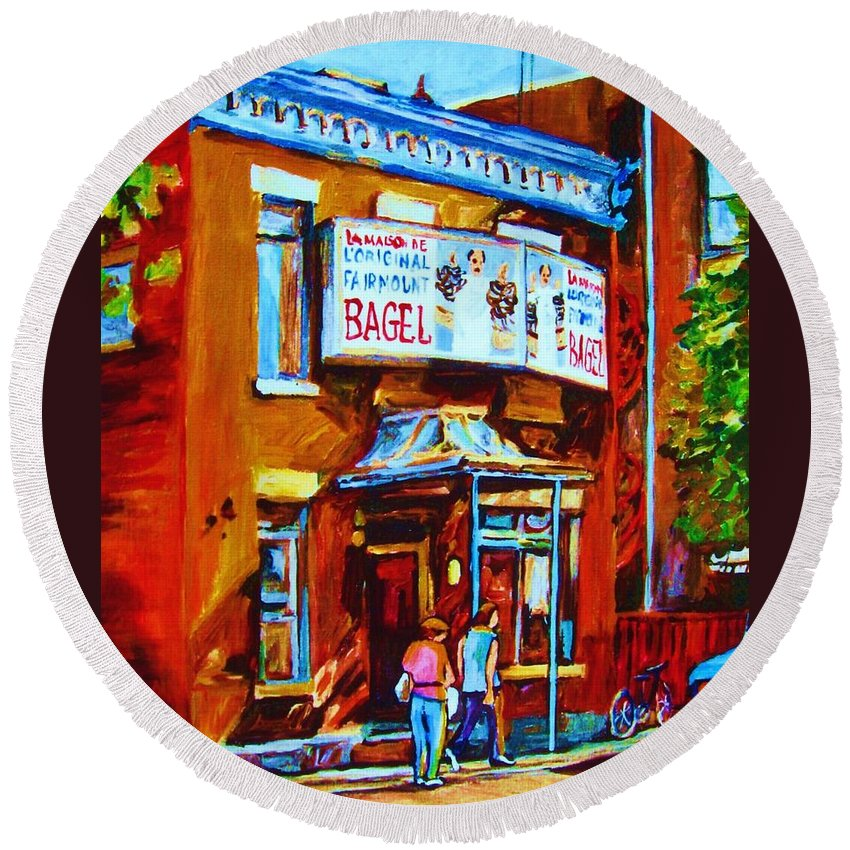 Fairmount Bagel Round Beach Towel featuring the painting Breakfast At The Bagel Cafe by Carole Spandau