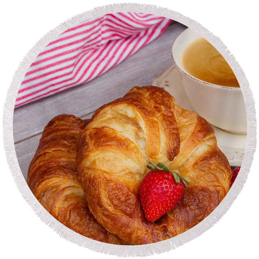 Breakfast Round Beach Towel featuring the photograph Breakfast With Croissants by Anastasy Yarmolovich