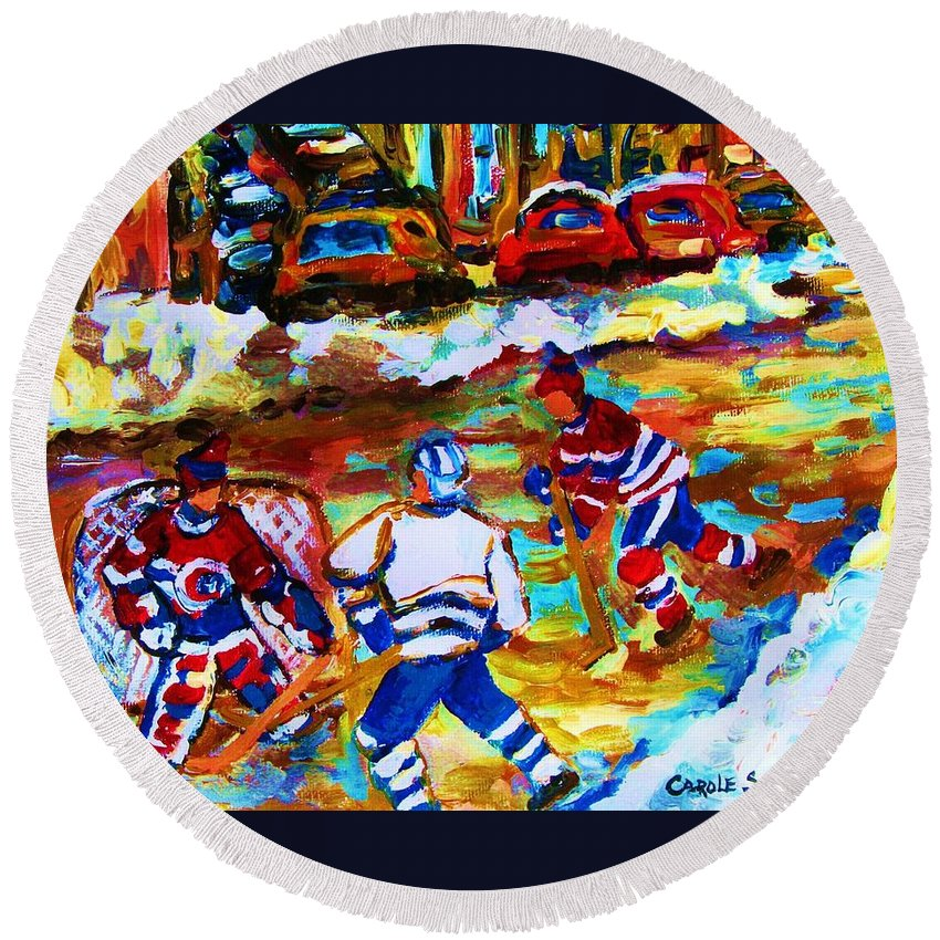 Streethockey Round Beach Towel featuring the painting Breaking The Ice by Carole Spandau