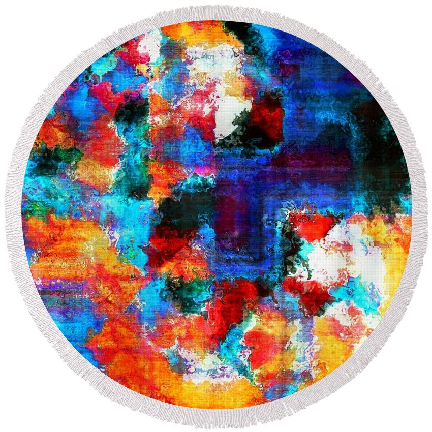 Abstract Round Beach Towel featuring the painting Breaking The Rules by RC DeWinter